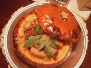 Fall Stuffed Pumkin with Vegetable Root Stew